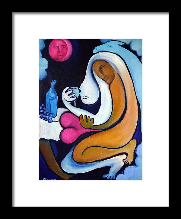 Abstract Framed Print featuring the painting Never Tear Us Apart by Valerie Vescovi