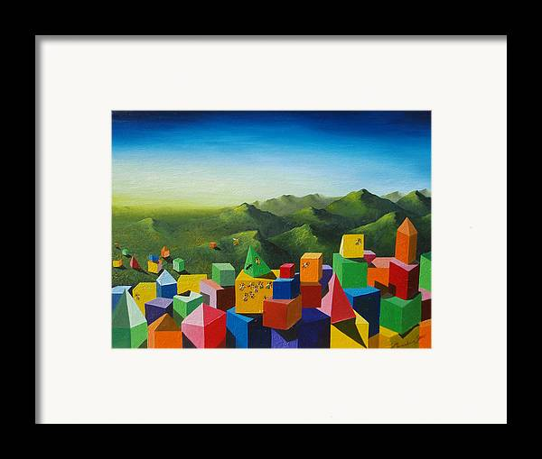 Cubes Framed Print featuring the painting Neverland by Massimiliano Stanco