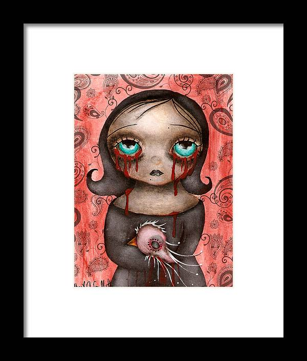 Crow . Halloween Framed Print featuring the painting Nevermore by Abril Andrade Griffith