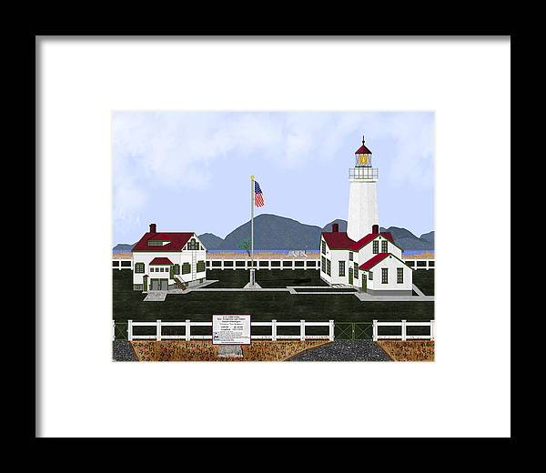 Lighthouse Framed Print featuring the painting New Dungeness Lighthouse At Sequim Washington by Anne Norskog