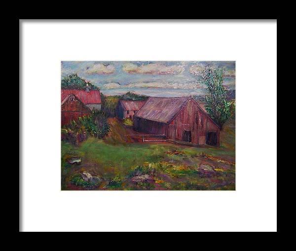 Barns Framed Print featuring the painting New England Farm by Richard Nowak