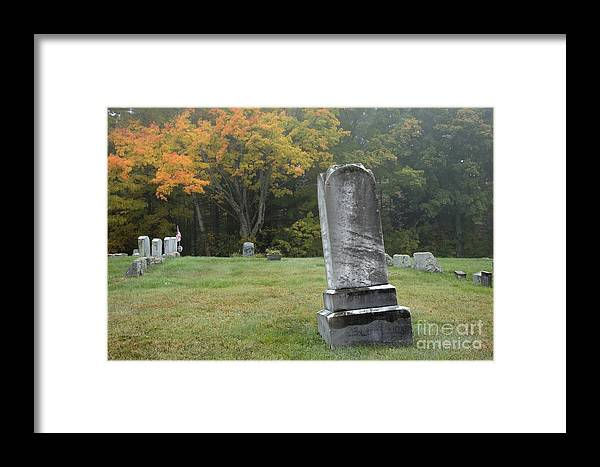 Graveyard Framed Print featuring the photograph New England Graveyard During The Autumn by Erin Paul Donovan