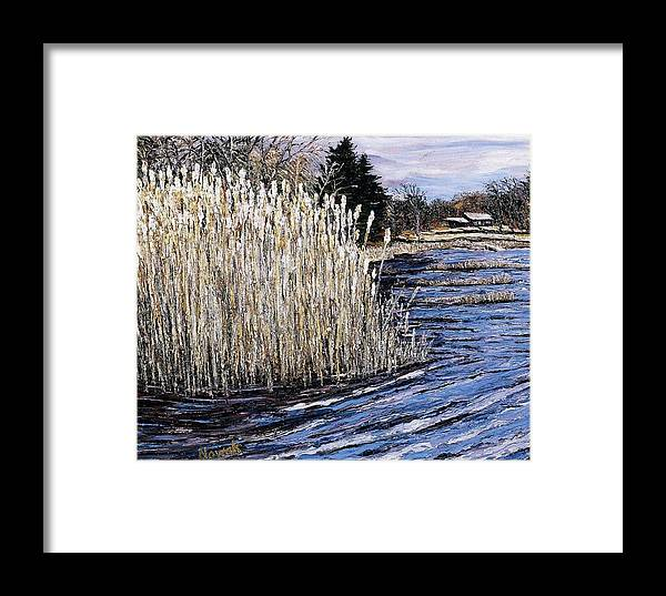 New England Framed Print featuring the painting New England Pond by Richard Nowak