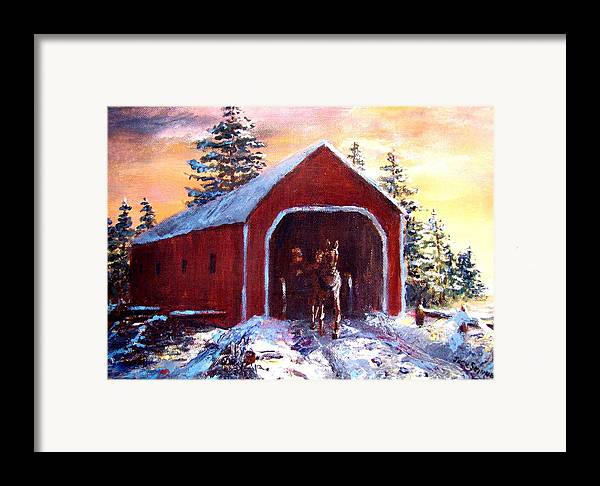 Winter Scene Framed Print featuring the painting New England Winter Crossing by Jack Skinner