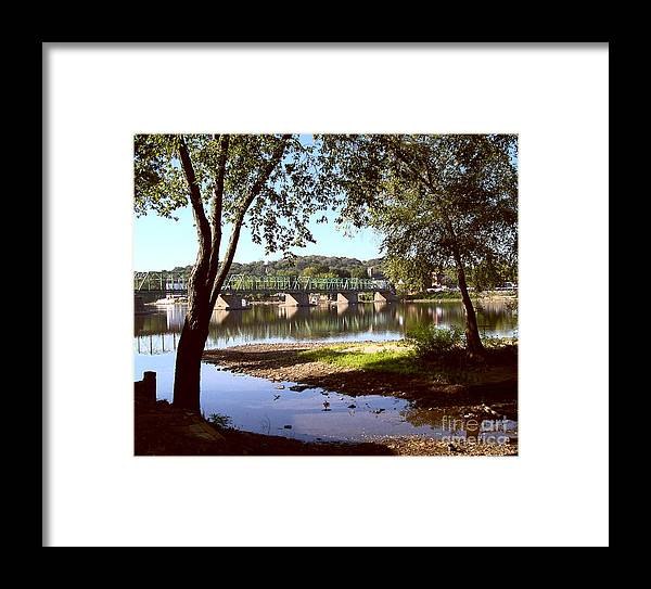 Bucks County Framed Print featuring the photograph New Hope Lambertville Bridge by Addie Hocynec