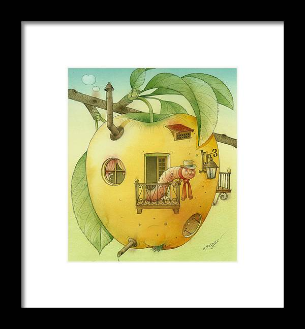 Landscape Apple Autumn Nature Illustration Yellow Home Framed Print featuring the painting New House by Kestutis Kasparavicius