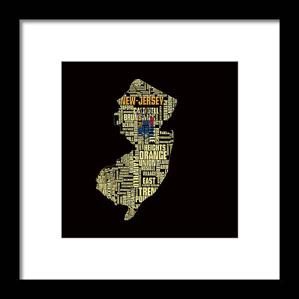 New Jersey Framed Print featuring the digital art New Jersey Typographic Map 4g by Brian Reaves