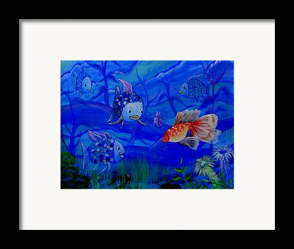 Fish Framed Print featuring the painting New Kid In Town by Quwatha Valentine