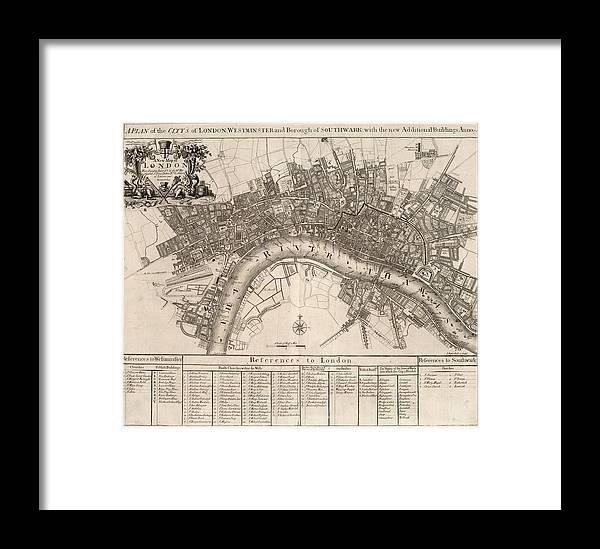New Map Of London Framed Print by John Senex
