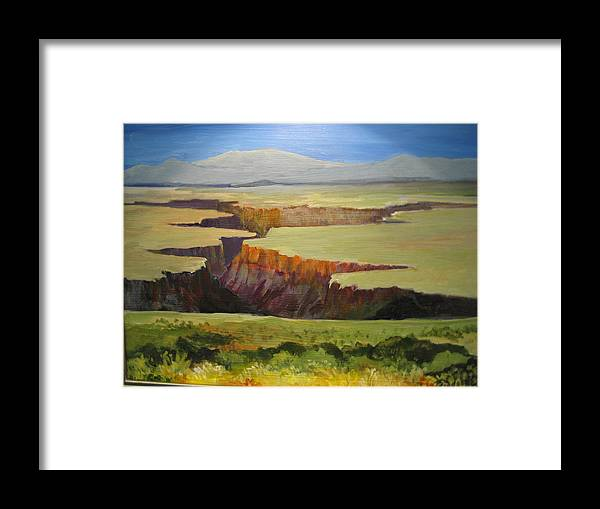 New Mexico Aroyo Near Taoa Framed Print featuring the painting New Mexico Canyon by Barbara Moore