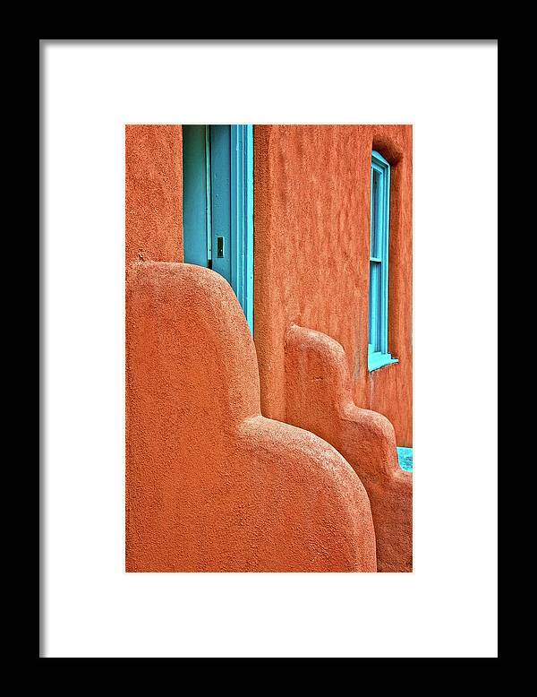 Door Framed Print featuring the photograph New Mexico Style by Zayne Diamond Photographic