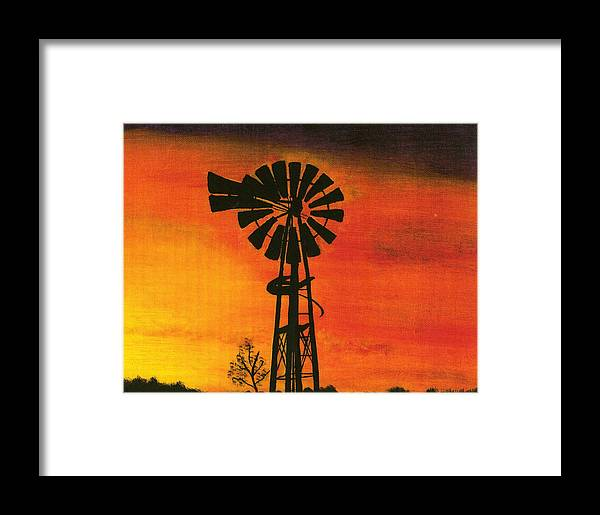 Windmill Desert Sunset Framed Print featuring the painting New Mexico Sunset by Terri Warner