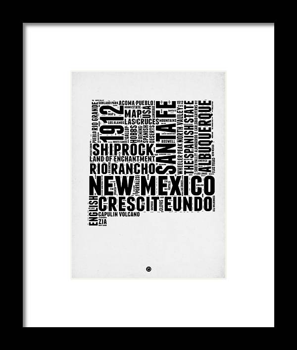 New Mexico Framed Print featuring the digital art New Mexico Word Cloud Map 2 by Naxart Studio