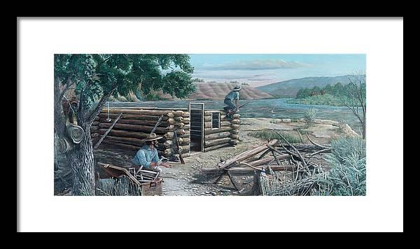 Pioneers Framed Print featuring the painting New Neighbors by Lee Bowerman