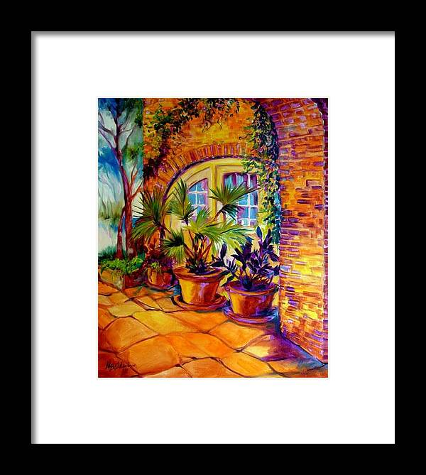 New Orleans Framed Print featuring the painting New Orleans Courtyard By M Baldwin by Marcia Baldwin