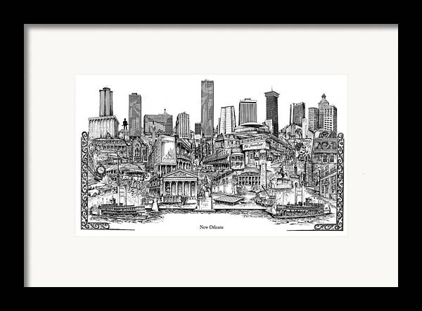 City Drawing Framed Print featuring the drawing New Orleans by Dennis Bivens