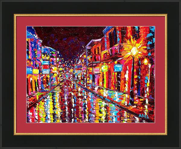 New Orleans Hot Night Bourbon Street by Elaine Adel Cummins