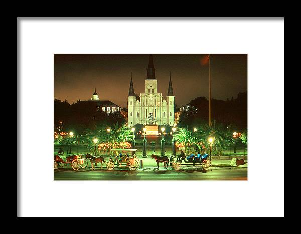 New+orleans Framed Print featuring the photograph New Orleans Night Photo - Saint Louis Cathedral by Peter Potter