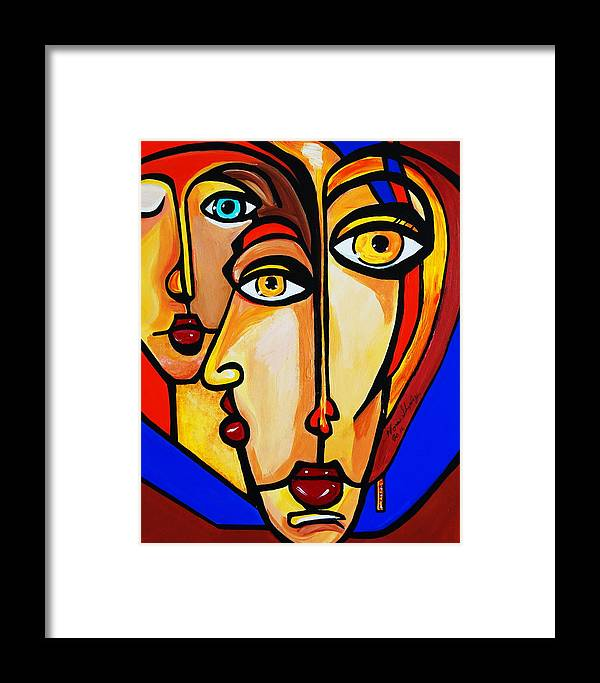 Picasso By Nora Friends Framed Print featuring the painting New Picasso By Nora Friends by Nora Shepley