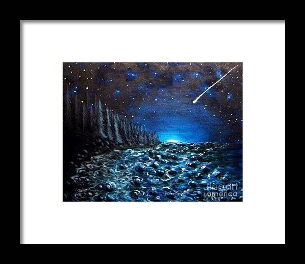Meteorite Shower Framed Print featuring the painting New Rock by Karen Rowland