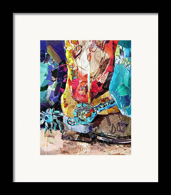 Torn Paper Collage Framed Print featuring the painting New Spurs by Suzy Pal Powell