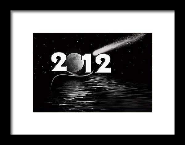 Night Framed Print featuring the digital art New Year Reflection by Maria Dryfhout