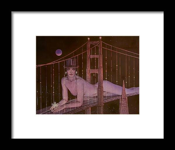 Female Framed Print featuring the painting New Years On The Golden Gate by Gary Kaemmer