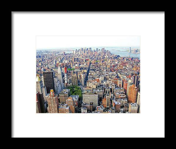New York Framed Print featuring the photograph New York Aerial View by Benny Marty
