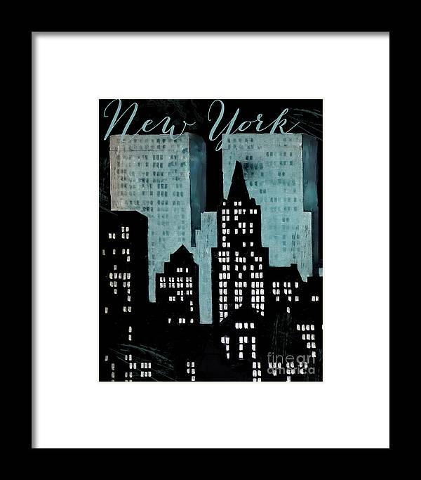 New York Framed Print featuring the painting New York Art Deco by Mindy Sommers