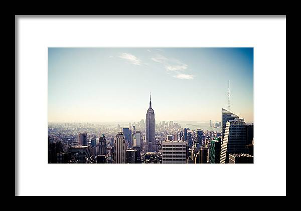 New York City - Empire State Building Framed Print featuring the photograph New York City - Empire State Building Panorama by Thomas Richter