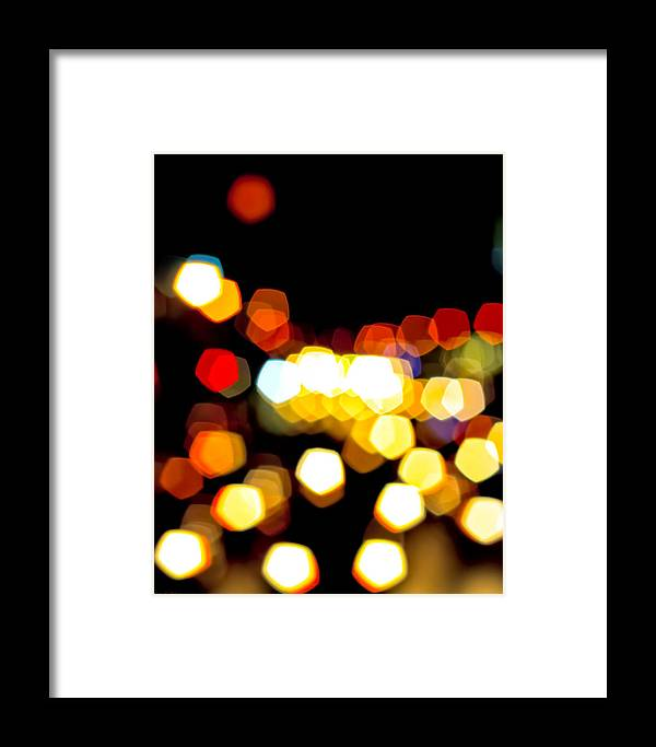 Colorful Framed Print featuring the photograph New York City Lights - My View by Mark E Tisdale