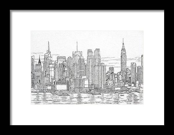 New York City Skyline Framed Print featuring the drawing New York City - Manhattan Skyline by Mike Rabe