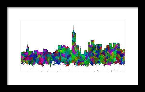 New York City Framed Print featuring the digital art New York City Skyline Abstract Silhouette I by Ricky Barnard