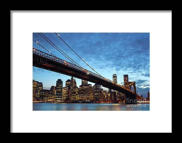 New Framed Print featuring the photograph New York City Skyline By Night by Antonio Gravante