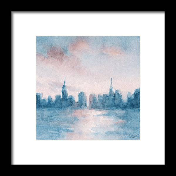 New York City Skyline Coral And Aqua Framed Print by Beverly Brown ...