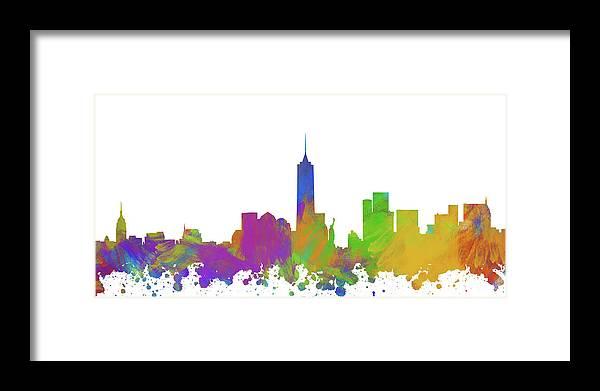 New York City Framed Print featuring the digital art New York City Skyline Silhouette V by Ricky Barnard