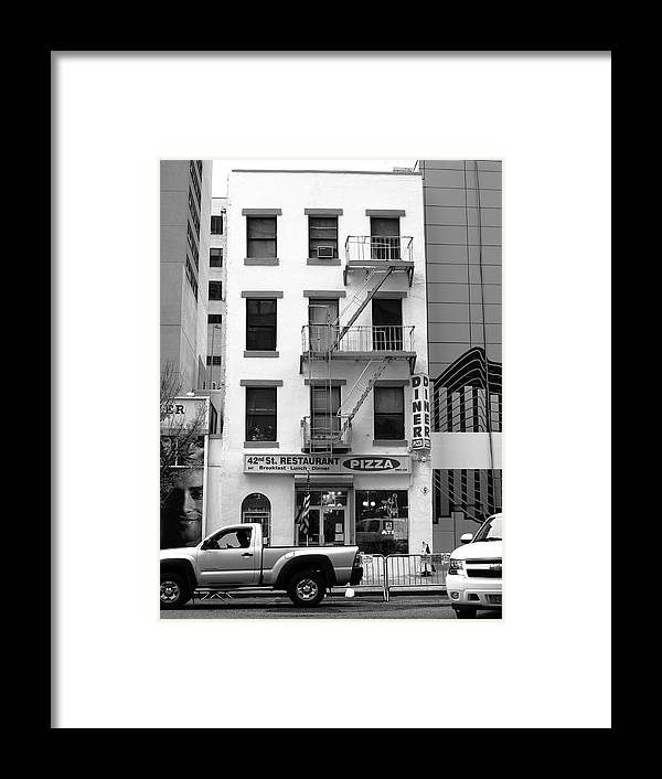 Architecture Framed Print featuring the photograph New York City Storefront Bw5 by Frank Romeo