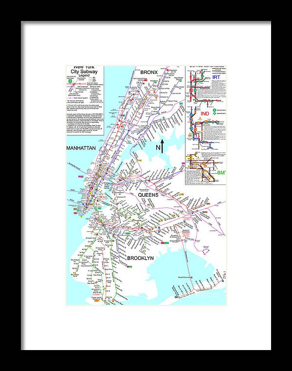 Framed New York Subway Map.New York City Subway Map Framed Print