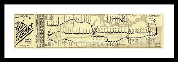 Framed New York Subway Map.New York City Subway Map Vintage Framed Print