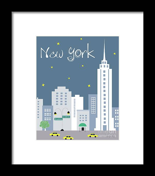 New York City Framed Print featuring the digital art New York City Vertical Skyline - Empire State At Dusk by Karen Young