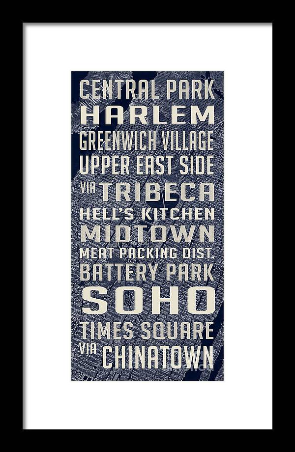 Subway Map Greenwich Village.New York City Vintage Subway Stops With Map Framed Print