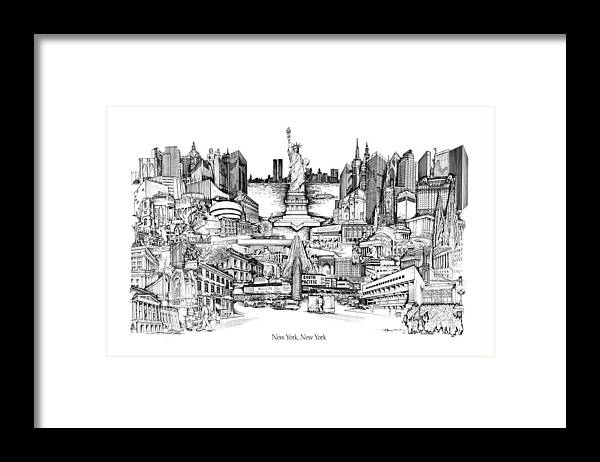 City Drawing Framed Print featuring the drawing New York by Dennis Bivens