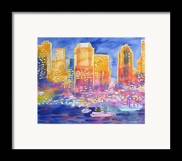 Landscape Framed Print featuring the painting New York Great City Silhouettes.2007 by Natalia Piacheva