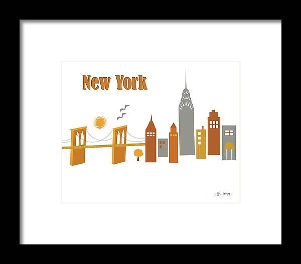 New York Framed Print featuring the digital art New York Horizontal Scene - Brooklyn Bridge by Karen Young