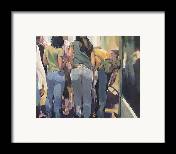 New York Cityscape Showing Teenagers On The Street Framed Print featuring the painting New York Kids by Merle Keller