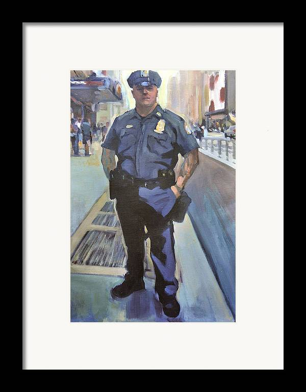 Cop On The Beat.new York Policeman Framed Print featuring the painting New York by Merle Keller