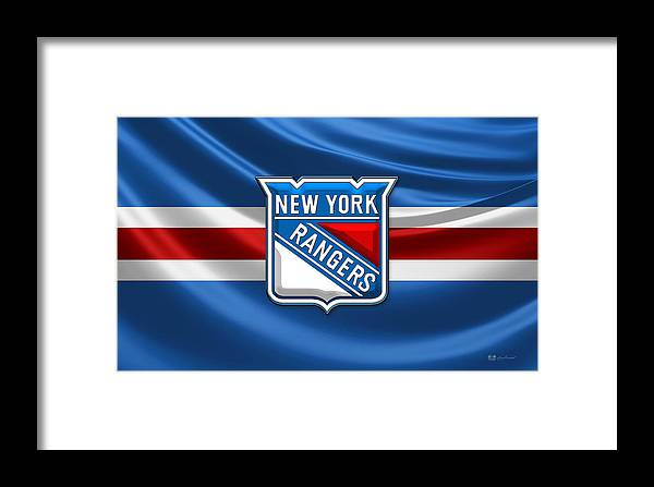 �hockey Hall Of Fame 3d� By Serge Averbukh Framed Print featuring the photograph New York Rangers - 3d Badge Over Flag by Serge Averbukh