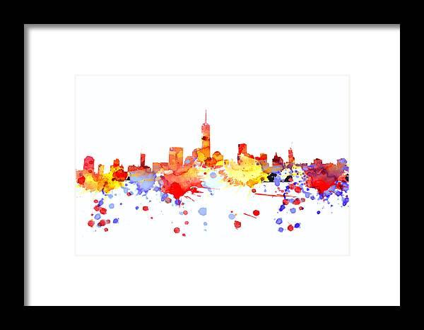 New York Skyline Framed Print featuring the digital art New York Skyline by Alex Antoine