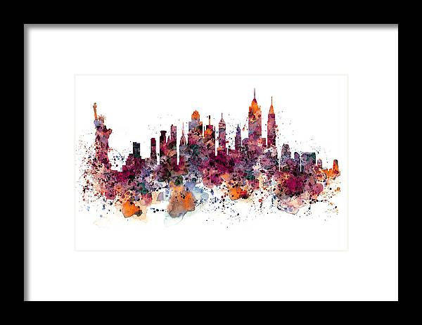 New York Framed Print featuring the painting New York Skyline Watercolor by Marian Voicu
