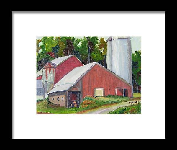 Farm Framed Print featuring the painting New York State Farm With Silos by Richard Nowak